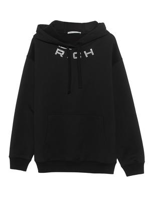 Alessandra Rich Logo Rhinestone Black