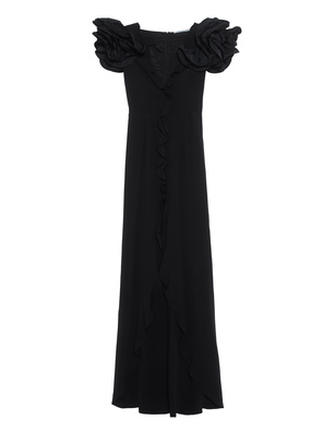 Alessandra Rich Long Cady Ruffle Sleeves Black
