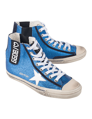 GOLDEN GOOSE DELUXE BRAND V-Star Blue Glitter White Star