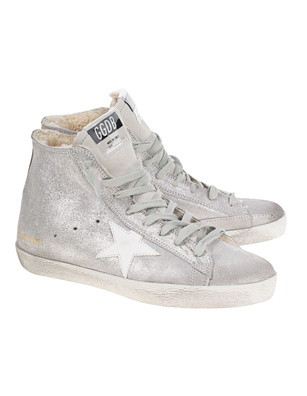 GOLDEN GOOSE DELUXE BRAND Francy Glitter Suede Silver