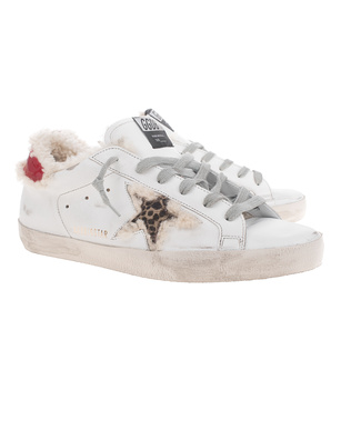 GOLDEN GOOSE DELUXE BRAND Superstar Shearling Leopard White