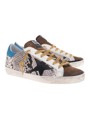 GOLDEN GOOSE DELUXE BRAND Superstar Snake Print Star Black