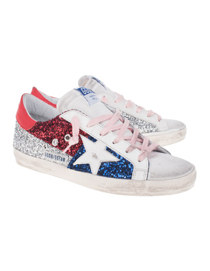 GOLDEN GOOSE DELUXE BRAND Superstar Glitter Red Blue Silver