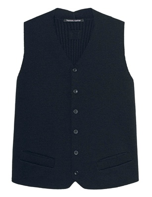 HANNES ROETHER Wool Buttoned Navy