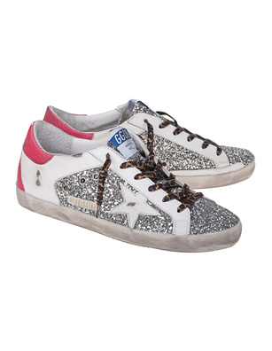 GOLDEN GOOSE DELUXE BRAND Super Star Glitter Leather Silver Pink
