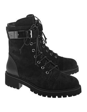 GIUSEPPE ZANOTTI Combat Velour Boots Black
