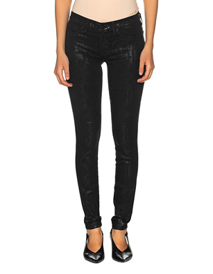 7 FOR ALL MANKIND The Skinny Coated Snakeskin Black