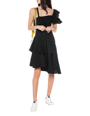 Kendall + Kylie One Shoulder Flutter Black
