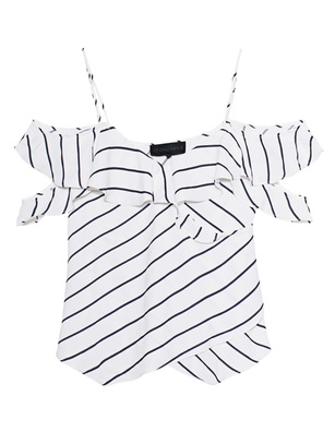 Kendall + Kylie Off Shoulder Stripe White