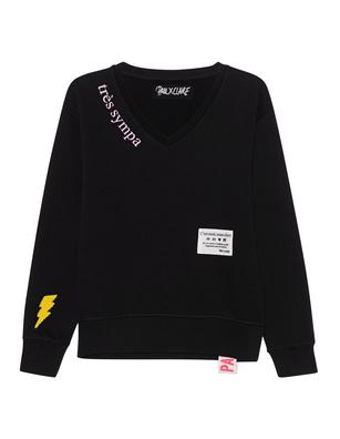 PAUL X CLAIRE Flash V Neck Black
