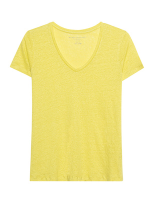 Majestic Filatures  V Neck Linen Lime