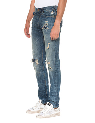TRUE RELIGION New Geno Destroyed Selvedge Blue