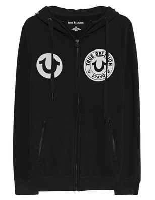 TRUE RELIGION Hoodie Zip Washed Black