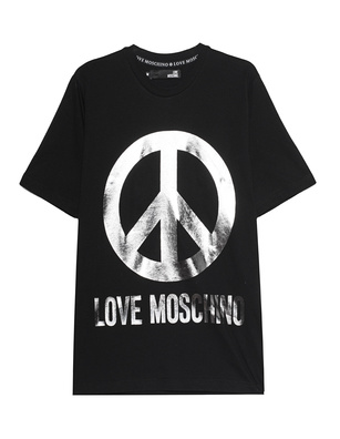 LOVE Moschino Logo Peace Black Silver