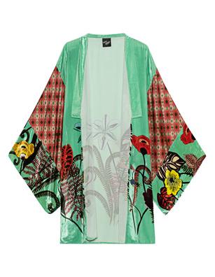 Mimi Liberté Short Kimono Pattern Green
