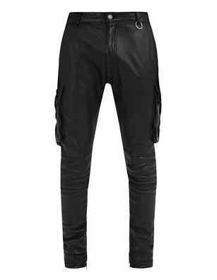JACOB LEE Biker Leather Pants Black