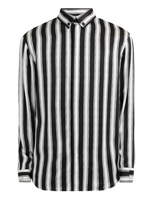 JACOB LEE Striped Fuck Off Shirt Black