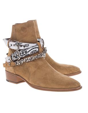 Amiri Bandana Buckle Boots Beige