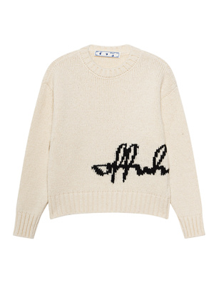 OFF-WHITE C/O VIRGIL ABLOH Logo Intarsio Crewneck Cream Black