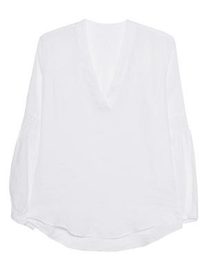 120% LINO Linen Vneck White