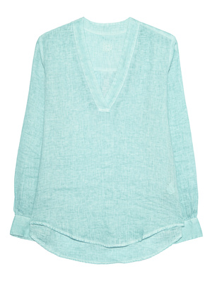 120% LINO Linen Dyed Vneck Turquoise