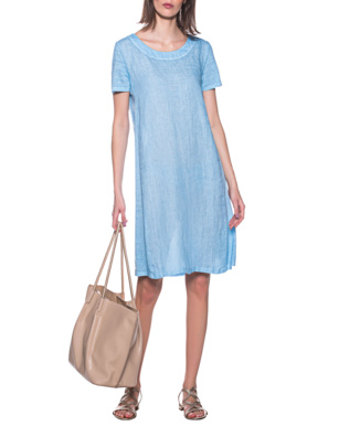 120% LINO Shirt Dress Avio Blue