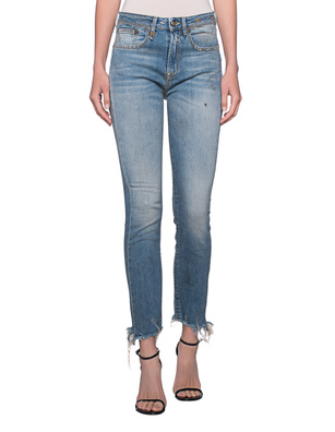 R13 Jenny Mid Rise Distressed Blue