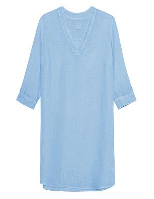 120% LINO Linen V Neck Avio Blue