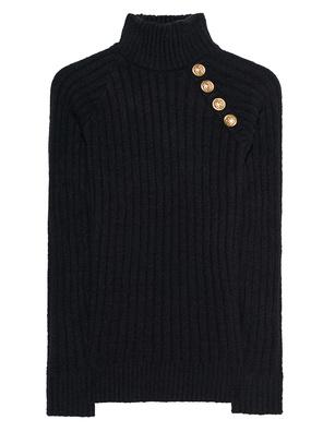 BALMAIN Ribbed Knit Turtle Black
