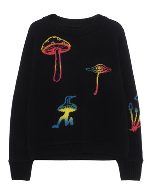 The Elder Statesman Intarsia Regular Sweater Painted Black