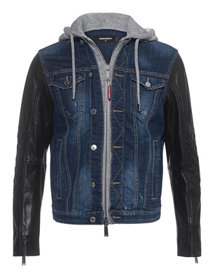 DSQUARED2 Dan Jean Leather Hood Blue