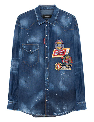 DSQUARED2 Patches Denim Shirt Blue