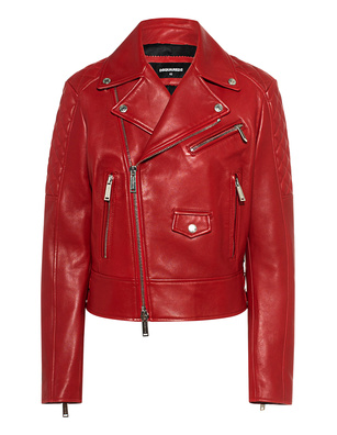 DSQUARED2 Leather Biker Red