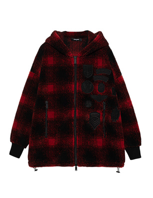DSQUARED2 Checked Patches Hood Red Black