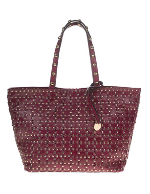RED VALENTINO Shopper Patent Studs Dark Red