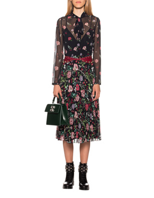 RED VALENTINO Flower Cherry Pleat Black