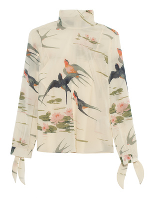 RED VALENTINO Silk Birds Ivory