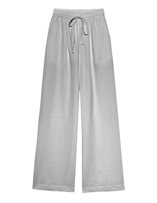 120% LINO Culotte Elastic Waist Linen Silver