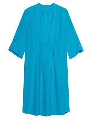 120% LINO V Neck Pleats White Ibiza Turquoise