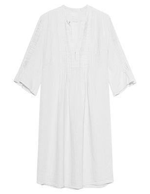 120% LINO V Neck Pleats White