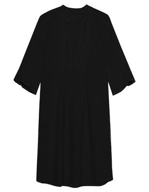120% LINO V Neck Pleats Black