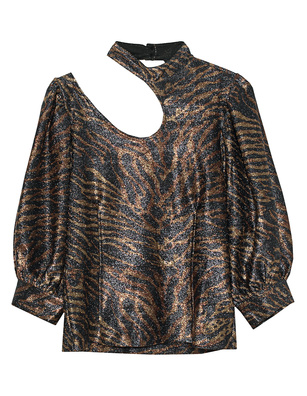 Ganni Tiger Blouse Multicolor