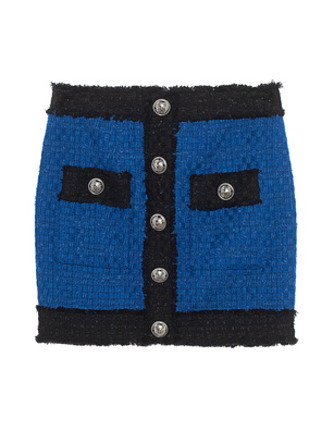 BALMAIN Tweed Buttoned Black Royal Blue
