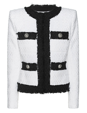 BALMAIN Collarless 4 Pocket Tweed White