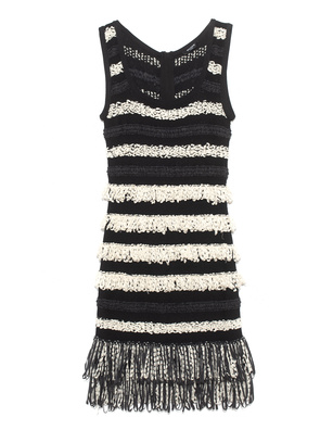 BALMAIN Fringed Knit Strap Black White