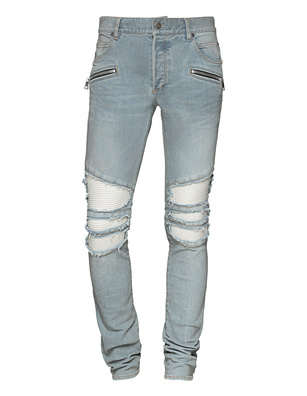 BALMAIN Ribbed Slim Grey Blue