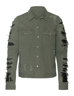 BALMAIN Mixed Leather Denim Olive