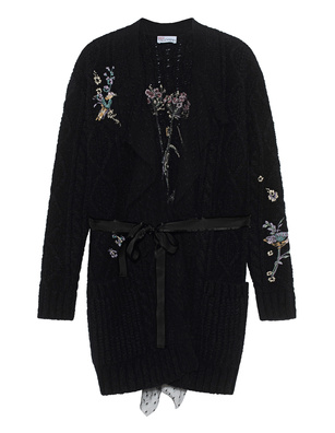 RED VALENTINO Knit Mesh Embroidery Black