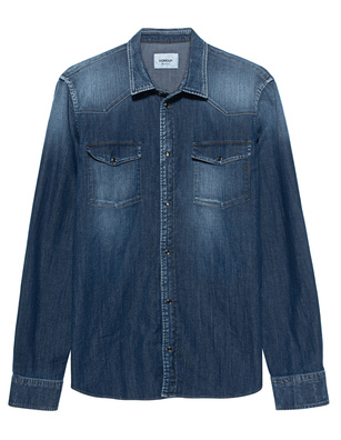 Dondup Washed Denim Chest Pocket Blue