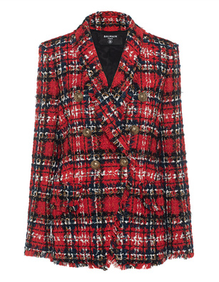 BALMAIN Tweed Tartan Red